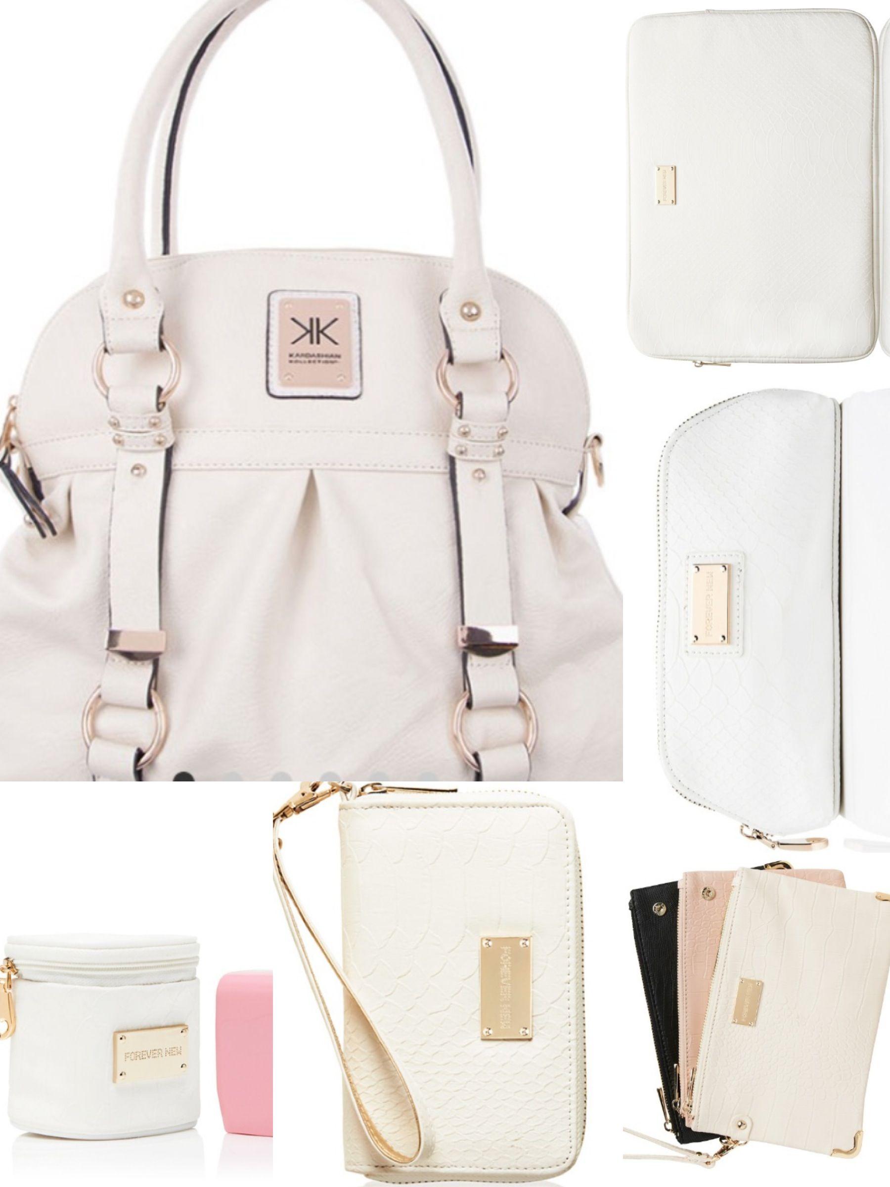 New handbag set! Kardashian Kollection, white, cream, gold