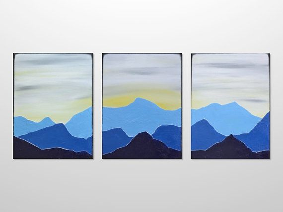 original large triptych mountain range silhouette landscape painting blue acrylic canvas texture abstract modern wall