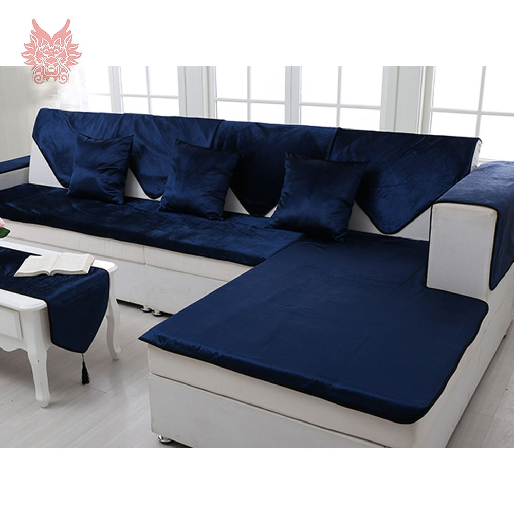 Free Shipping Royal Blue Velvet Sofa Cover Flannel Plush Slipcovers Furniture Couch Covers Fundas De Blue Sofas Living Room Blue Sofa Living Blue Leather Sofa
