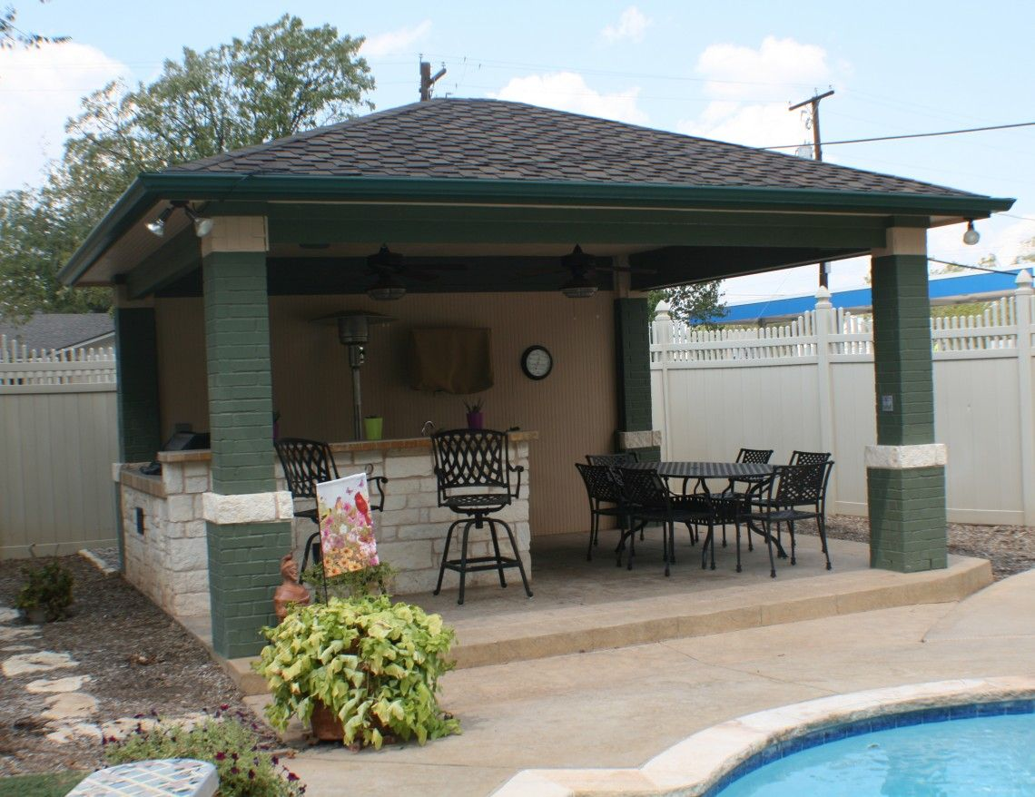 Ideas outdoor kitchen in contemporary covered patio also for Outdoor pool backyard