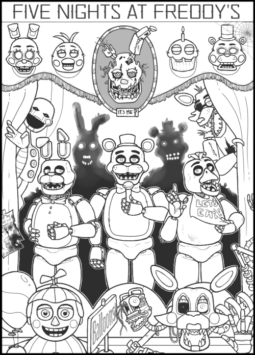 """This is what appears when you search """"fnaf coloring pages ..."""