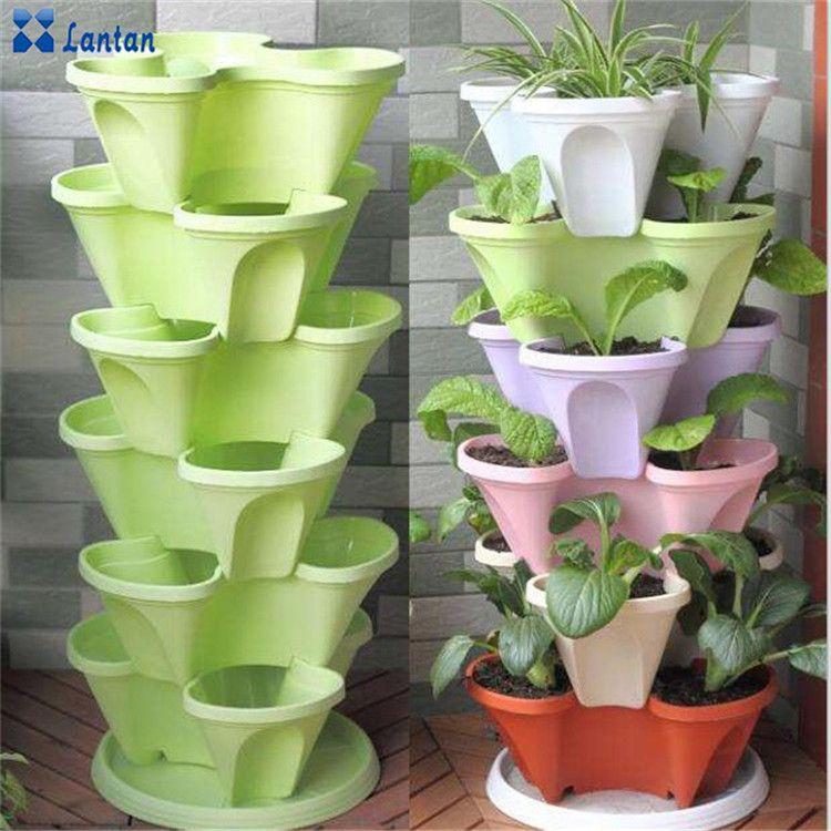 Wholesale Cheap Hydroponic Vertical Planting Plastic Flower Pots