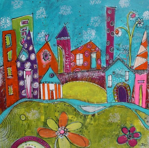 Funky and colorful city scape beach scene teal lime by for Funky house artists