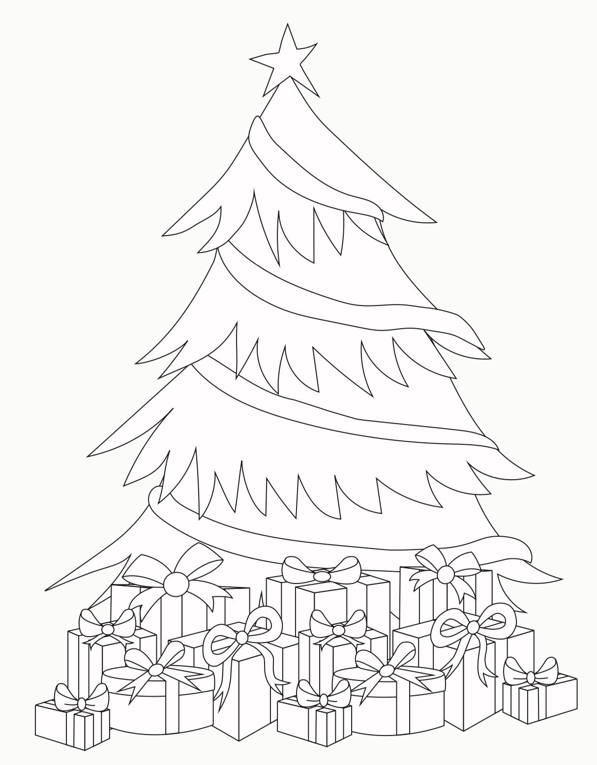 Coloring Page Christmas Tree With Presents Coloring Pages Present Coloring Page
