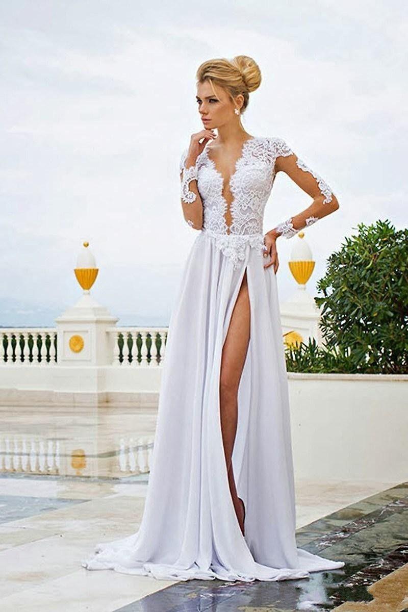 Long sleeves lace appliques chiffon wedding dress see through