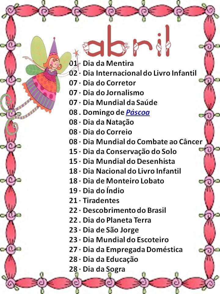 sugestões de datas comemorativas mês de agosto | DATAS COMEMORATIVAS DO MÊS DE ABRIL