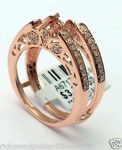 Antique Vintage Cathedral Ring Diamonds Guard Solitaire Enhancer 14k