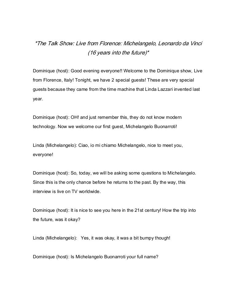 Live From Florence Talk Show Script Tv The Time Machine Michelangelo Essay