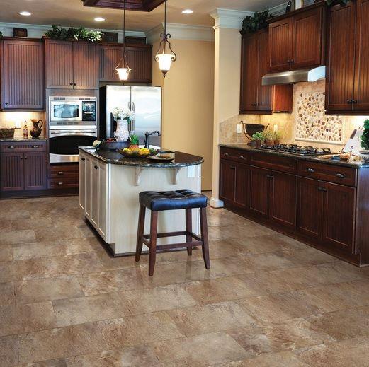 Vintage Kitchen With Linoleum Faux Tile Floors Flooring Ideas Floor Design Trends Luxury Vinyl Tile Flooring Kitchen Flooring Vinyl Tile Flooring