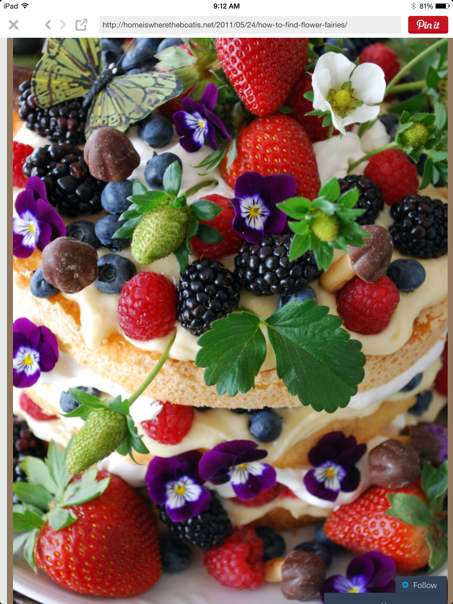 Fairy cake decoration. Angel food cake, layered with whipped cream and lemon curd. Decorated with berries, flowers, chocolate mushrooms, and butterflies! Just so pretty:)
