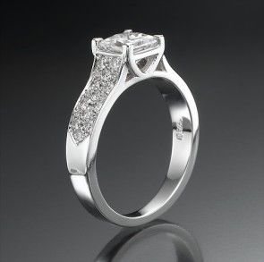 Swarovski CZ Engagement Ring with Side Stones Fire Ice 1