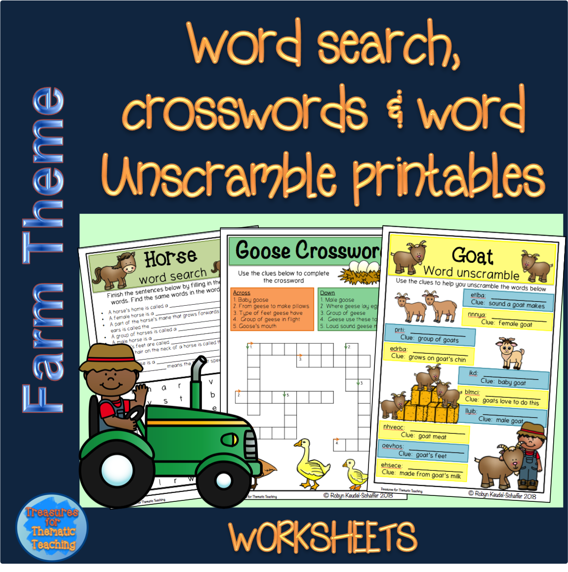 Farm Theme Word Search Crossword And Word Unscramble