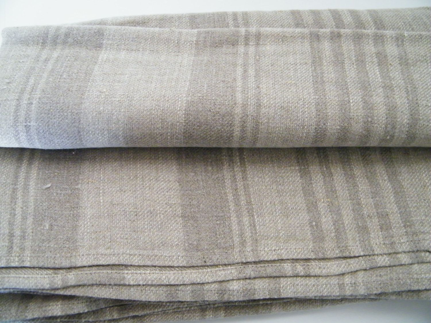2 Natural Linen Bath Towels Large Bath Sheets Huckaback Gray Ecru Lighter Darker Stripes For Spa Sauna Baby Linen Bath Towels Natural Linen Large Baths