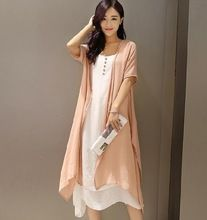 Vestido De Festa Longo 2015 Summer Style Two Piece Sleeveless Dress Long Cardigan Candy Color Bodycon White Linen Dress D271(China (Mainland))
