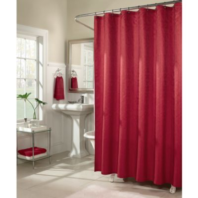 M. Style Waves 72-Inch x 72-Inch Shower Curtain in Red - BedBathandBeyond.com