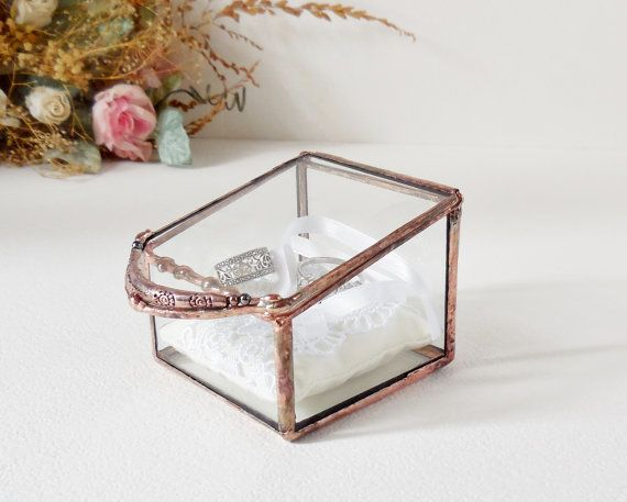 Glass Box Wedding Ring Box 6 x 8 x 2 Clear Glass Ring Bearer