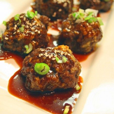 Chinese Beef Meatballs with Hoisin Ginger Sauce