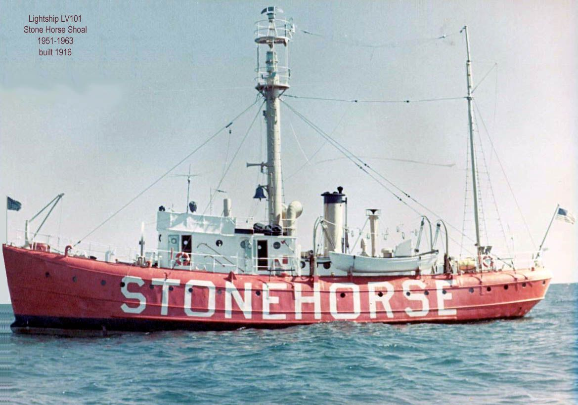 The Stone Horse Lightship built 1916 (Wilmington, Delaware) was a sentinel at Stone Horse Shoal for 12 years until it was retired in 1963.