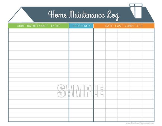 Home Maintenance Log - Home Maintenance Schedule - Printable and - maintenance log template