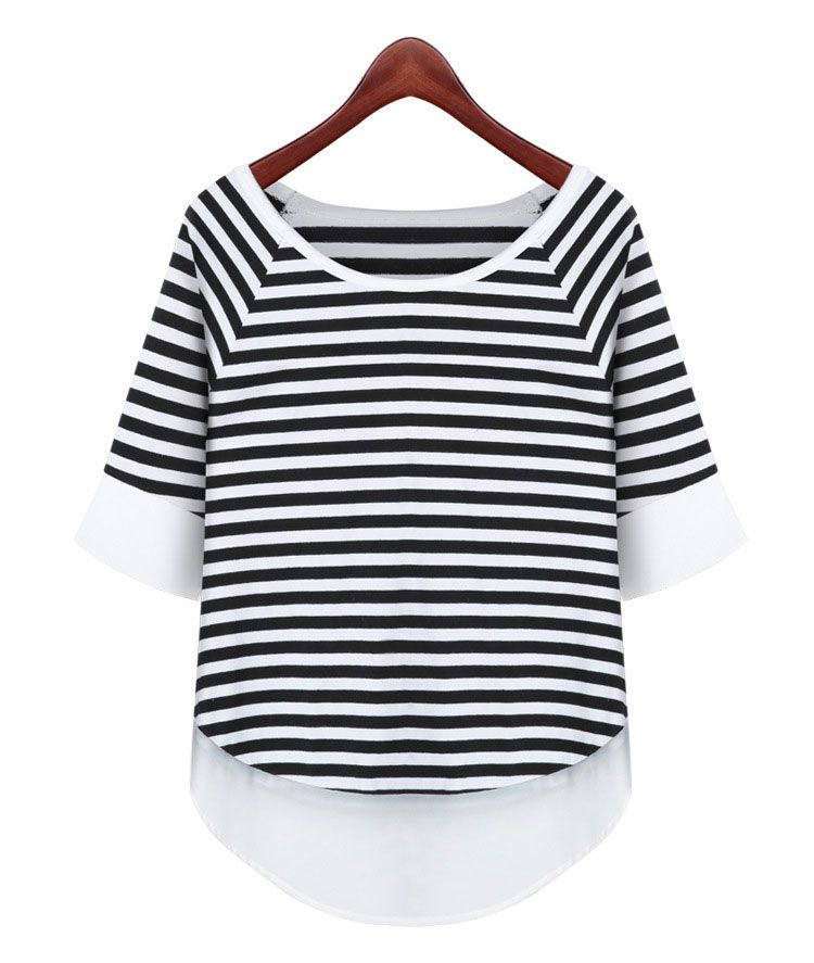 22744c97e Click to Buy << 2016 New Loose Striped Stitching Round Neck Striped Chiffon  Splicing Short-sleeved T-shirt White Es1652 #Affiliate