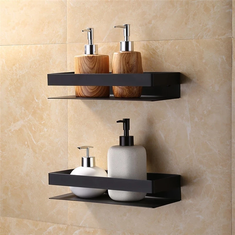 Matt Black Stainless Steel Bathroom Shelf Shower Rack Wall Mounted Modern Angular Design Black Bathroom Accessories Rack