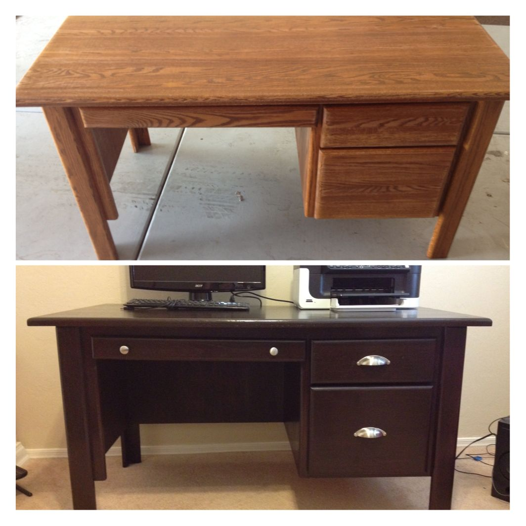 Refinished Oak Desk Using General Finishes Java Gel Stain