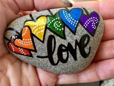 Hand Painted River Rock LOVE without limits!
