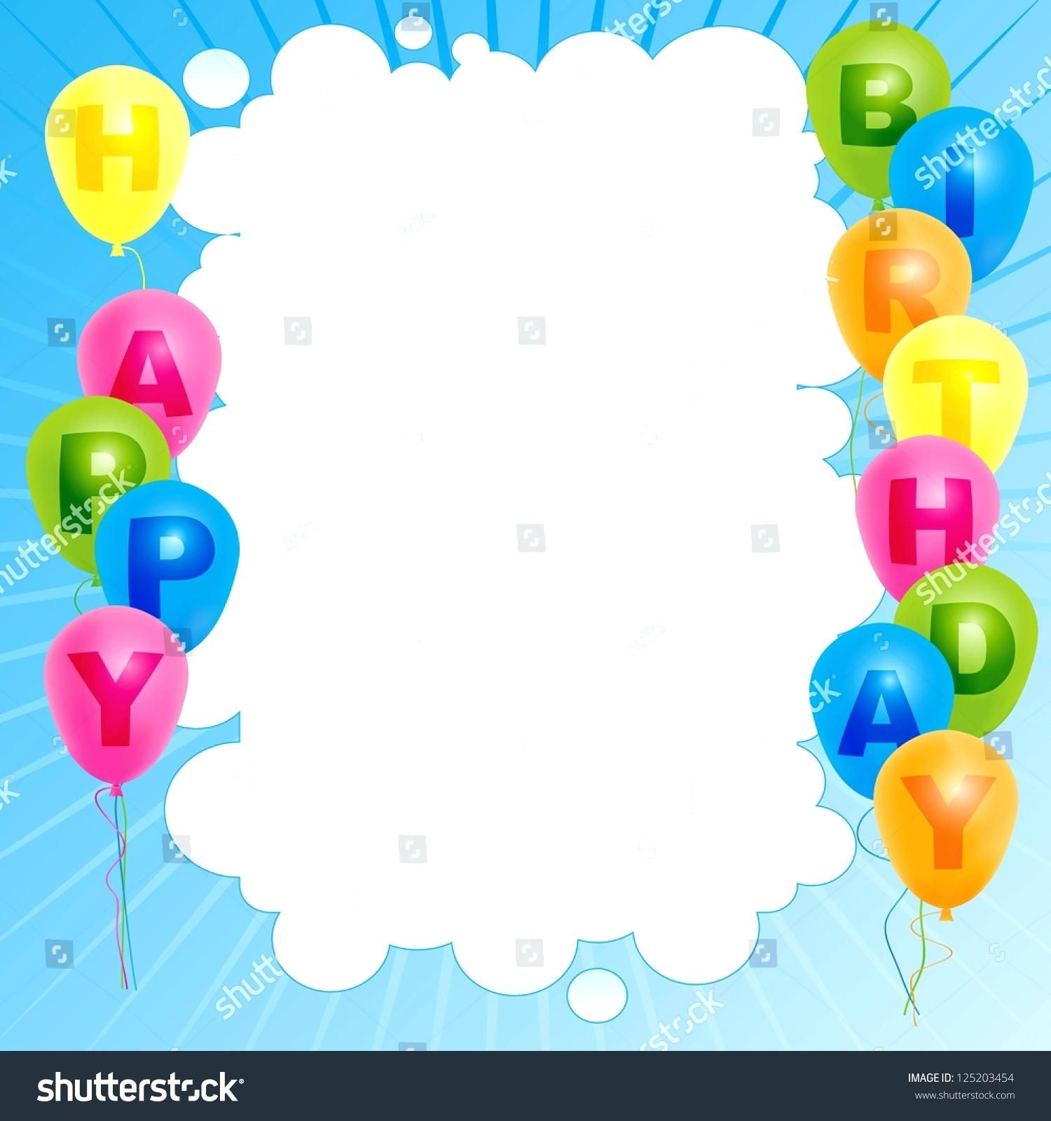 Template Happy Birthday Card Word Cards With Color Balloons Sign