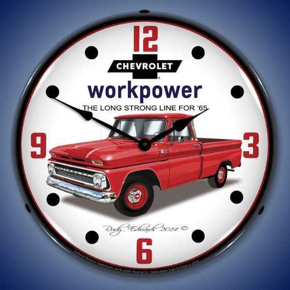 Led 1965 Chevrolet Truck 14 Backlit Lighted Advertising Sign Clock Vintage Style Retro Auto Gas Oil Garage Art 1409548 Chevrolet Trucks Vintage Trucks Chevy Trucks