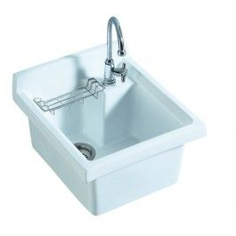 Whitehaus Wh474 60 Vitreous China Utility Sink With Wire Basket