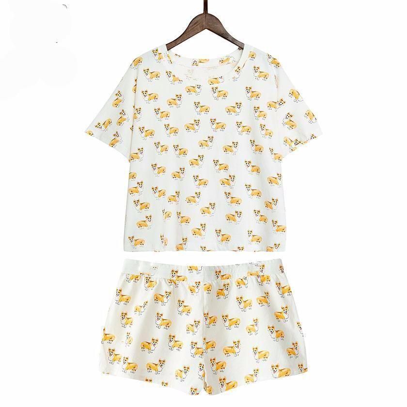 3b5b2704 Women's Corgi Print Pajamas (Crop Top + Shorts)   Products   Pajama ...