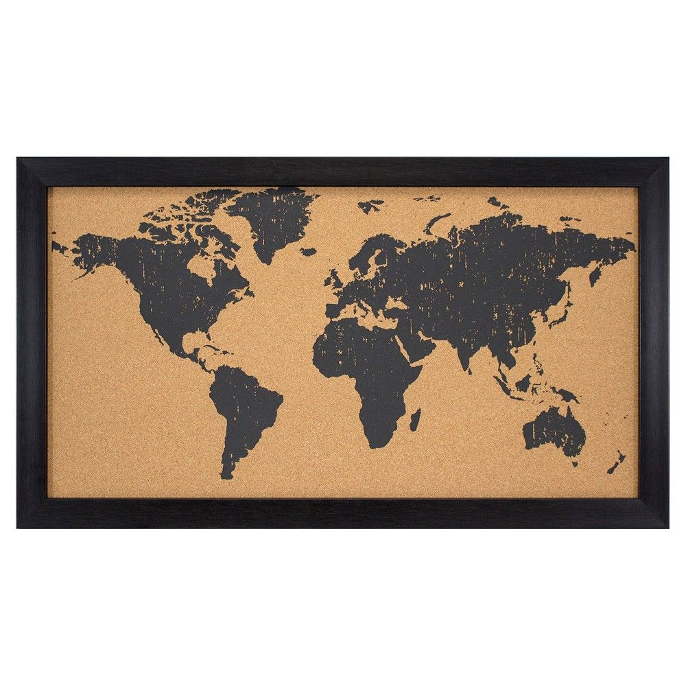 World map cork board 28x16 black blackbrown products world map cork board 28x16 black blackbrown gumiabroncs Image collections