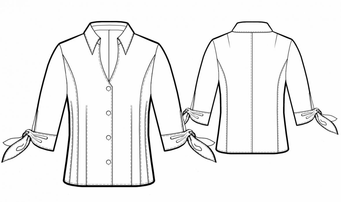 Blouse With Ties On Sleeves - Sewing Pattern #5767 - $2.49 (Enter your measurements for a custom-size pattern!)