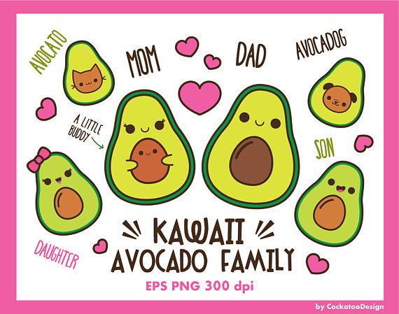 Avocado clipart, kawaii avocado clip art, cute avocado clip art, family clipart, vegeterian clipart, kawaii vegetables clipart, kids clipart