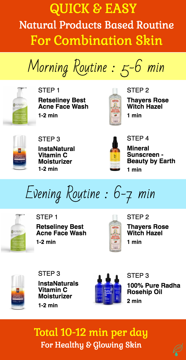 This all natural skin care routine for combination skin is