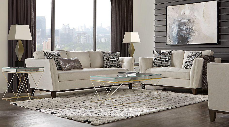 Cindy Crawford Home Park Boulevard Off White 7 Pc Living Room Living Room Sets Beige Living Room Sets Living Room Sets Furniture Small Living Room Design