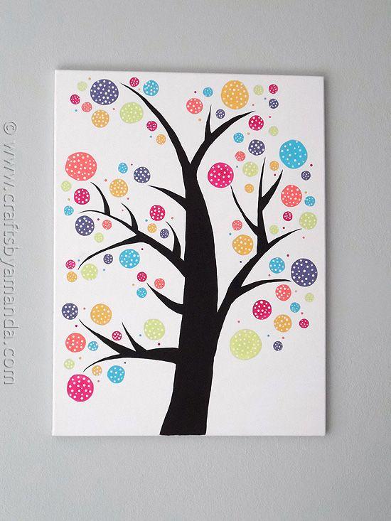 Polka Dot Circle Tree by @Amanda Formaro at CraftsbyAmanda.com  Instrucciones para hacer un cuadro DIY
