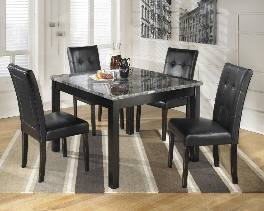 maysville square dining room table & 4 side chairs   d154-225