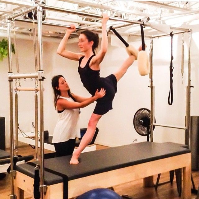 Cadillac Pilates: Rachel Stretching Her Arabesque With Guidance From Regan #nyc #pilates #manhattan #fitness