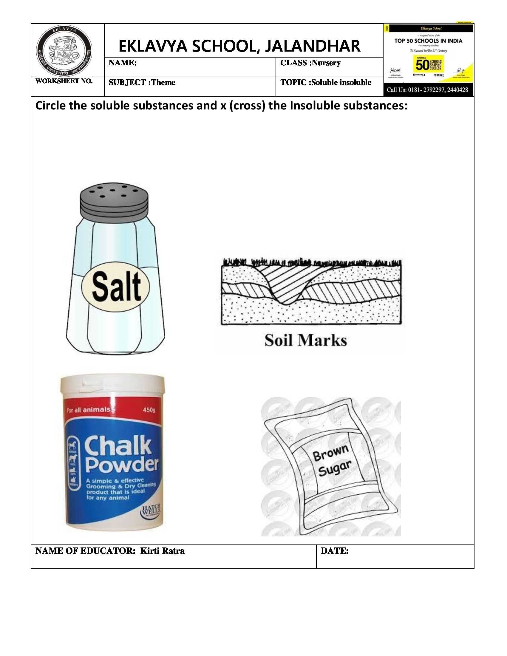 Theme Worksheet On Soluble And Insoluble | Pre- Primary ...
