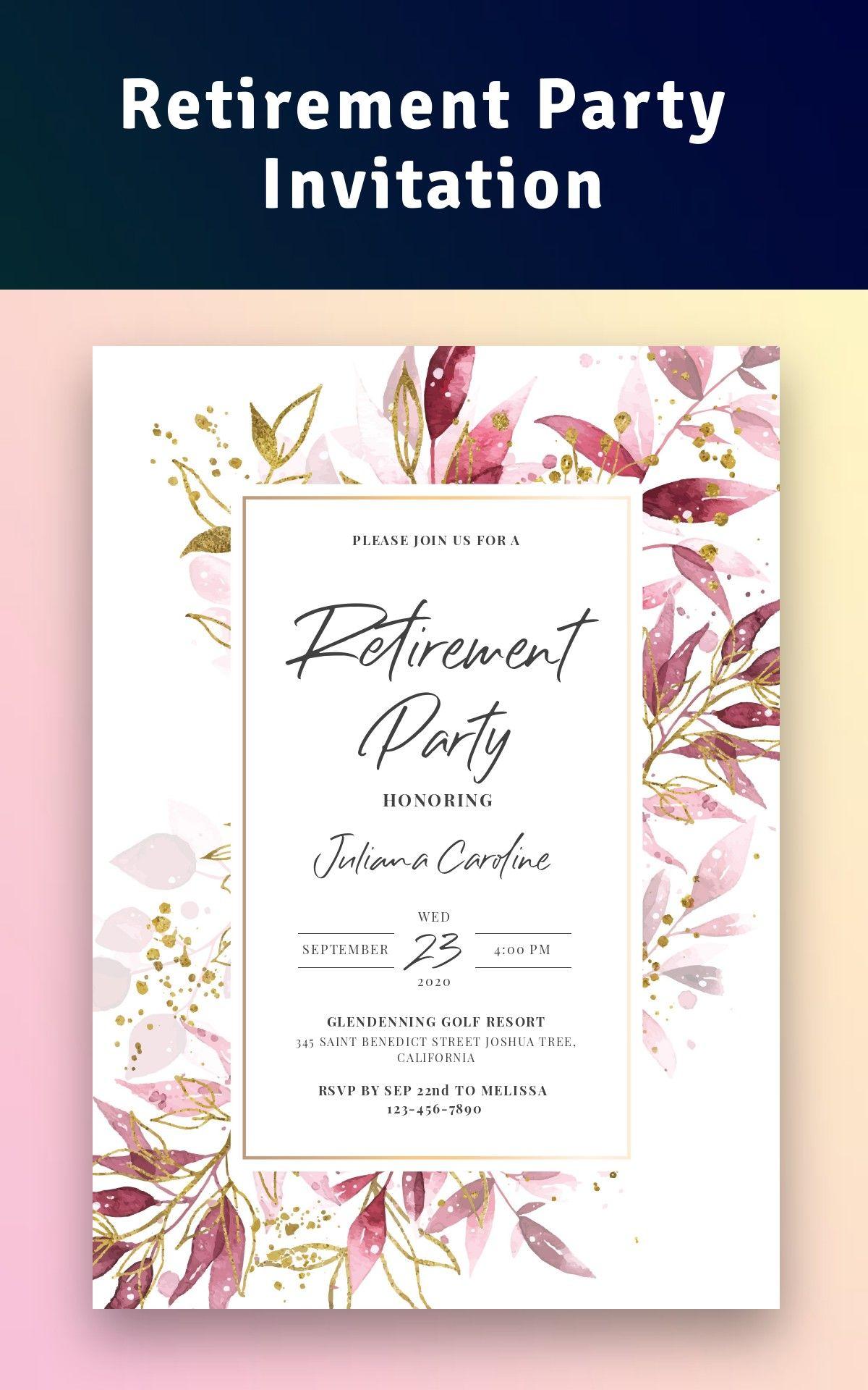 Retirement Party Invitation Personalize Download Retirement Party Invitations Retirement Invitation Card Invitations