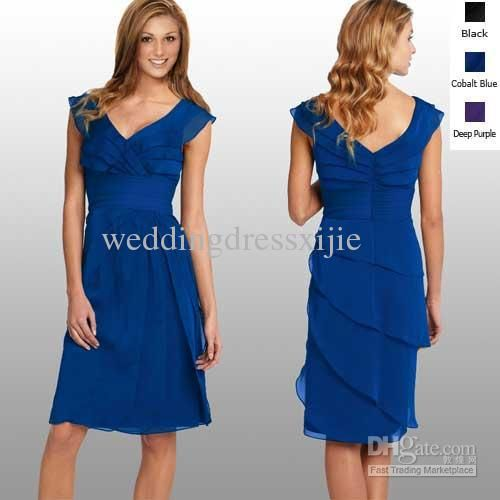 7f2bc594ade Wholesale Royal Blue Bridesmaid Dresses Wedding Dress Chiffon V-neck Knee  Length Pleat Sheath Zipper Top Sale, Free shipping, $100.8-123.2/Piece |  DHgate
