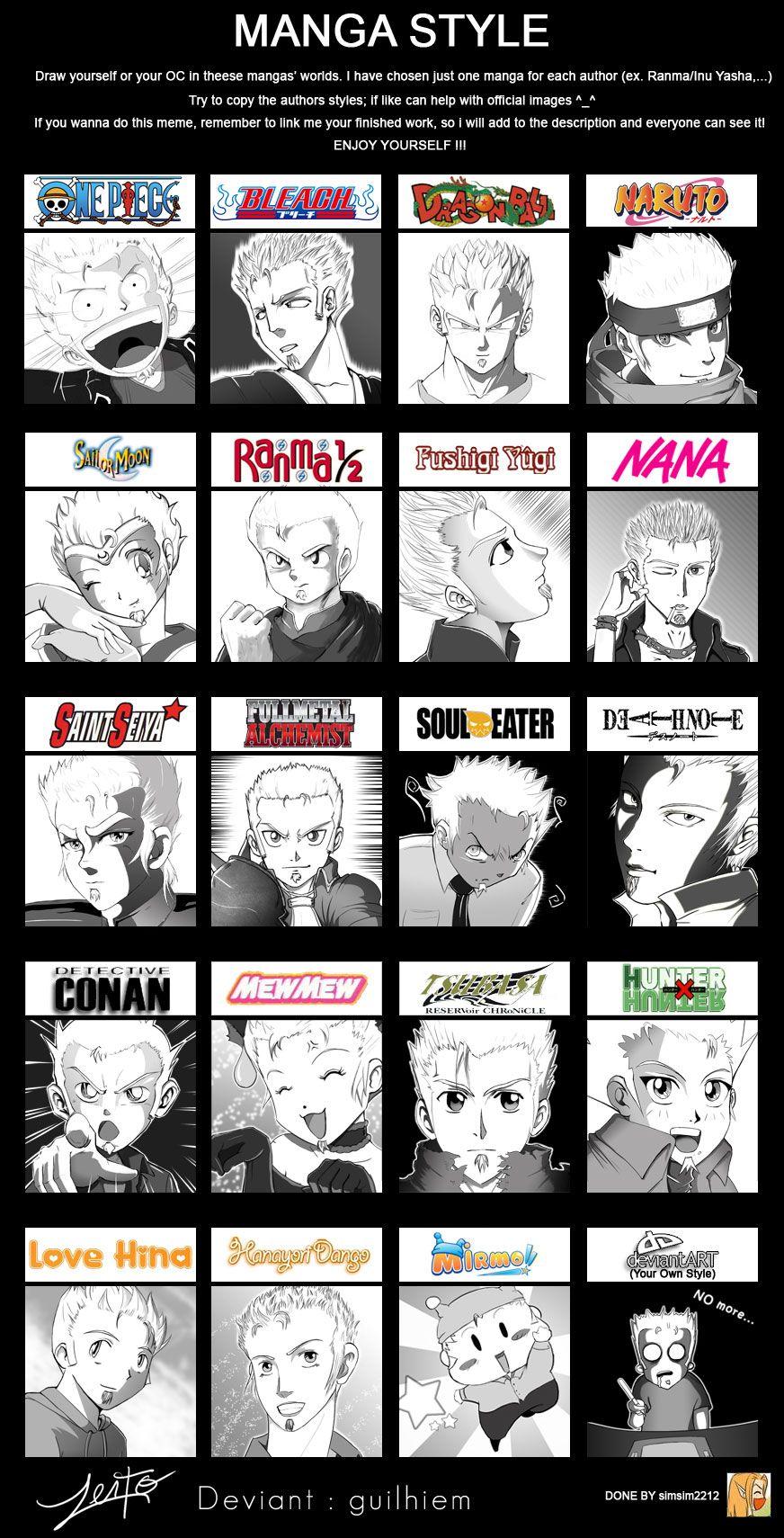 Manga Style Meme Guilhiem Anime Drawings Anime Style Art Style Challenge