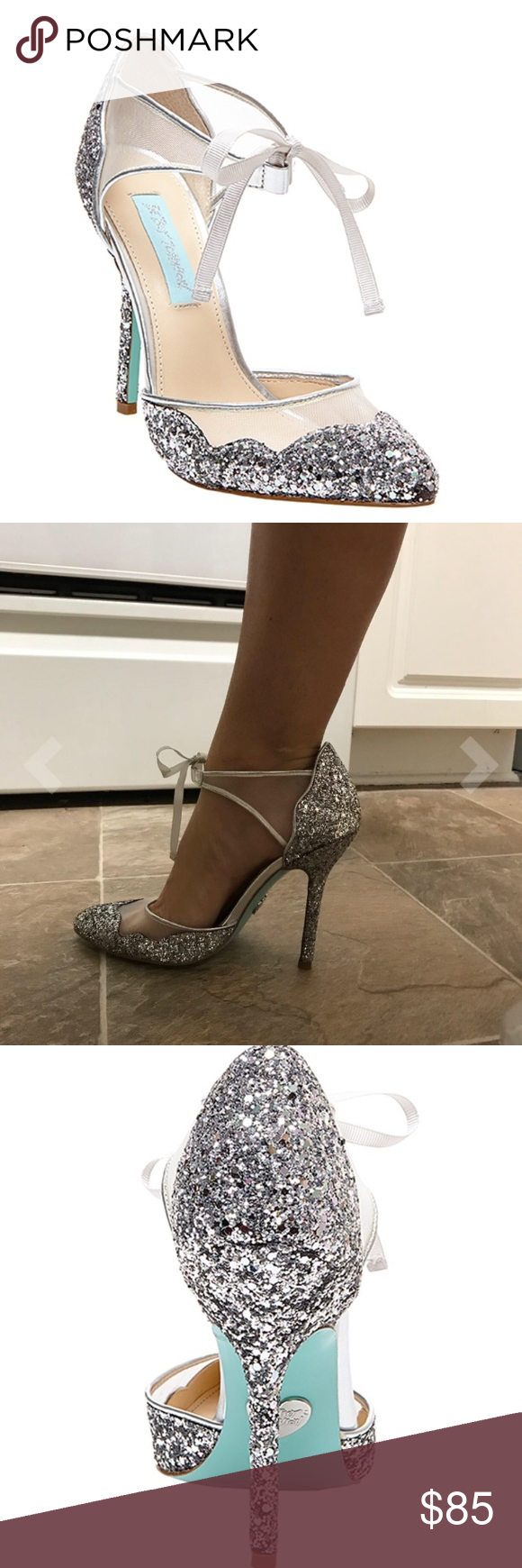 a857f84c132 NEW Betsey Johnson Silver Glitter Mesh Stela Pumps Brand new in box!! Blue  by