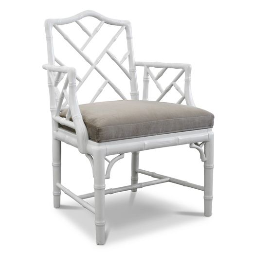 Jonathan Adler White Chippendale Arm Chair In Chairs, Benches, And Ottomans