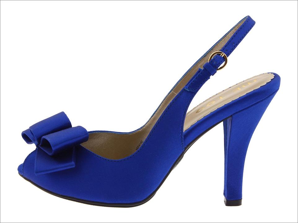 cobalt blue bridal shoes peep toe platform wedding