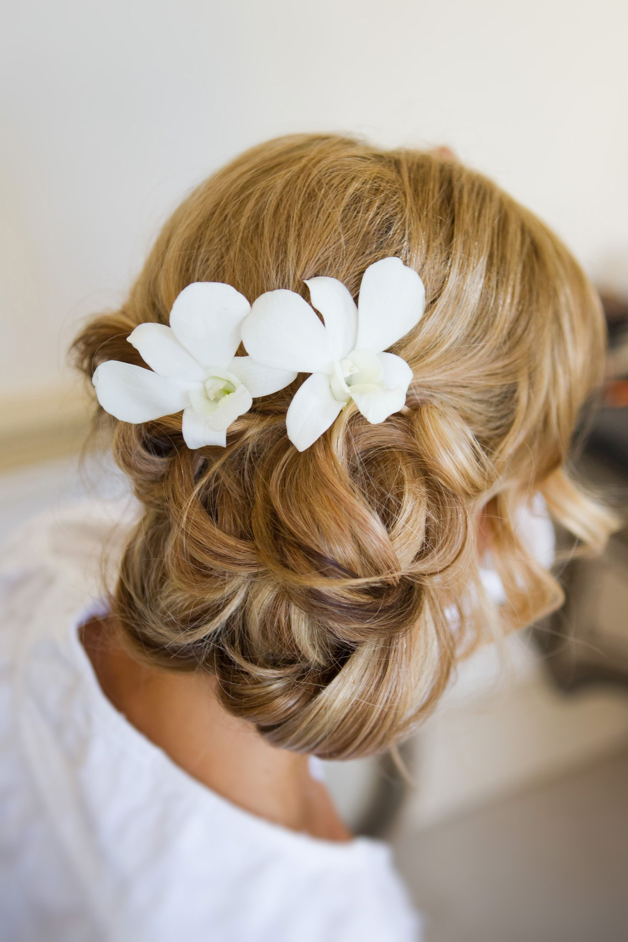 Wedding Hair Low, curly, relaxed, loose, soft, wavy, bun pinned to ...