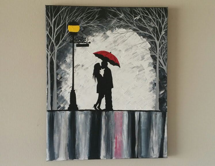 Original Couple In Rain Painting Kissing The Wall Art With Red Umbrella Silhouette 16x20