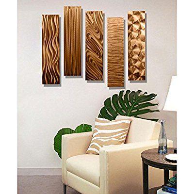 Copper Rectangular Metal Wall Art Accent - Multi Panel Bold Modern ...