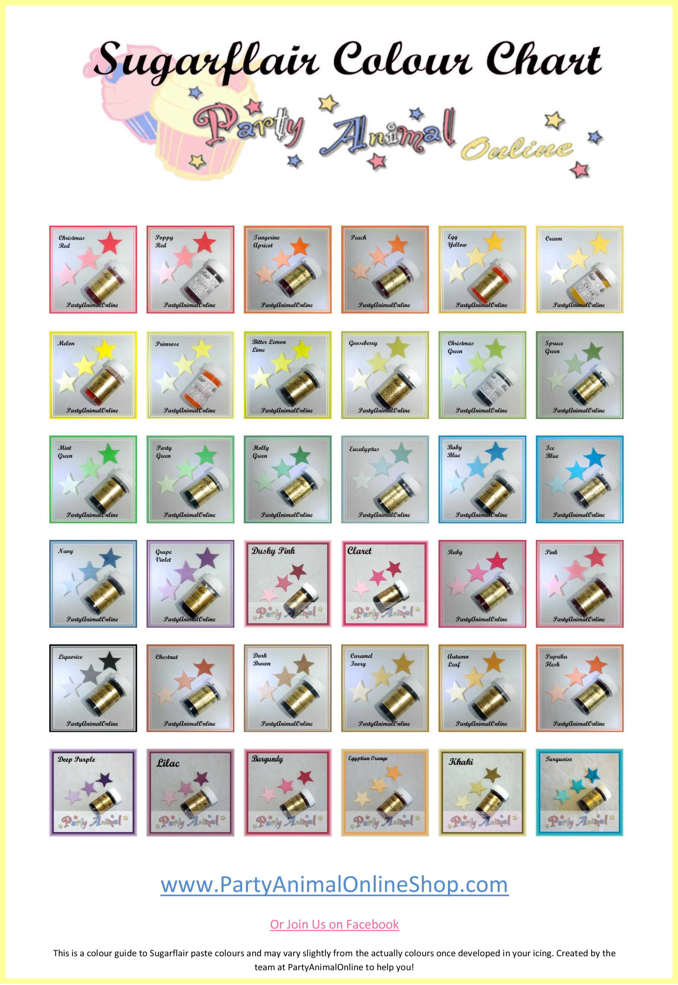 Free Sugarflair Spectral Paste Food Colour Chart